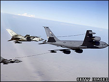 KC-135 aircraft refuelling other fighter jets