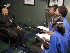 School Reporters with Archbishop Desmond Tutu