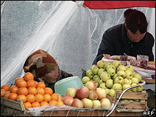 A fruit stall in Bishkek (Photos: MAXIM MARMUR/AFP/Getty Images)