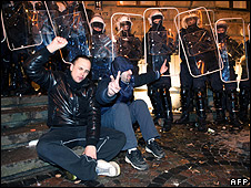 Anti-government protest in Riga, 13 Jan 09