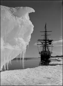 The Terra Nova moored on the ice at Antarctica, 16 January 1911.