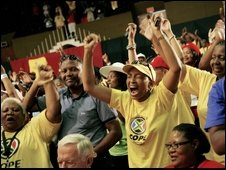 Supporters cheer at Cope's founding conference in Bloemfontein, 16 Dec 2008