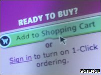 "Mouse cursor pointing to an ""Add to shopping cart"" button on an online shopping website"