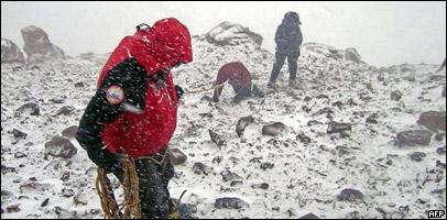 Un equipo de rescate en el Aconcagua.