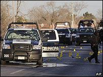 Escena donde fueron asesinados 3 agentes de la polic�a en Ciudad Ju�rez