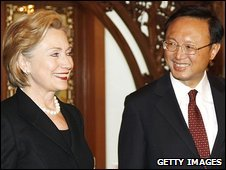 Hillary Clinton (left) with China's Foreign Minister Yang Jiechi in Beijing, China, 21 February