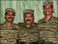 Velupillai Prabhakaran with Col Roopan and Lt Col Siriththiran