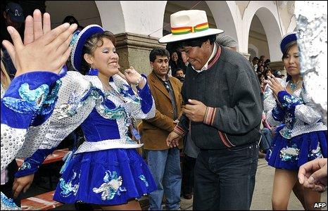 President Evo Morales among carnival dancers in Oruro