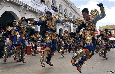 Dancing for La Diablada, Oruro, Bolivia