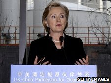 Hillary Clinton speaks to students during a visit to the Taiyanggong Geothermal Power Plant in Beijing, China, 21 February 2009