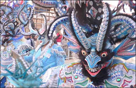 Dancers in devil's costumes in Oruro
