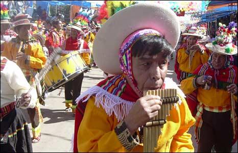 Indigenous revellers in Oruro
