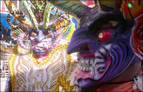 Devil's masks in Oruro