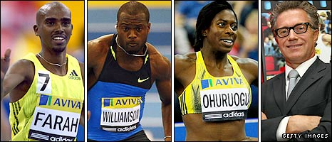 Mo Farah, Simeon Williamson, Christine Ohuruogu and Charles van Commenee