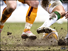The Fir Park pitch was cutting up during SUnday's game