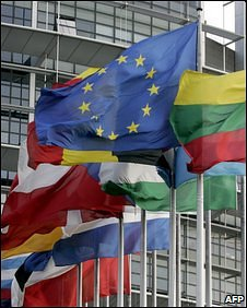 Flags flying at the European Parliament