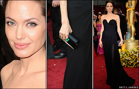angelina jolie red carpet dresses. her black gown with green
