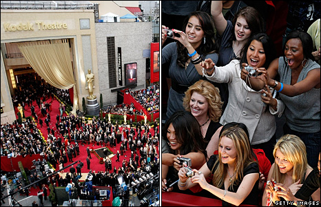 Fans outside the Oscar ceremony