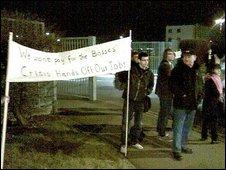 Protesters outside Oxford's mini plant