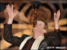 "Philippe Petit poses with the Best Documentary award for ""Man on Wire"" during the 81st Annual Academy Awards"