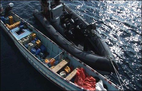 y inflatable alongside the skiff