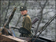 File image of North Korea soldier on border patrol, from 25 October 2006