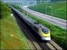 A Eurostar train travelling between London and the coast