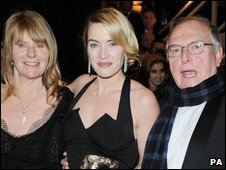 Kate Winslet (centre) and parents Sally and Roger