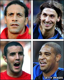 Clockwise, from top left: Rio Ferdinand, Zlatan Ibrahimovic, Adriano, John O'Shea