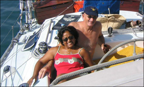 Shashi Bacheta and Jeffrey Cole on board their yacht