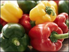 red, yellow and green peppers in a bowl