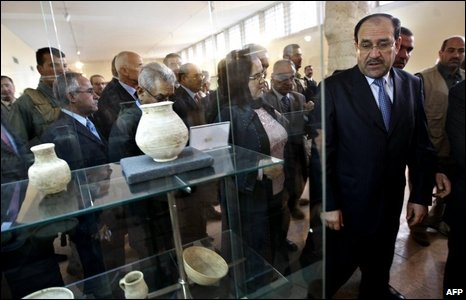 Iraqi Prime Miniister Nouri Maliki attends the re-opening of the museum