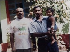 Floriano Fernandes and his son and grandaughter in Goa