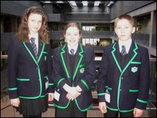 School Reporters Kirsty, Victoria and Ciaran from Lenzie Academy in East Dunbartonshire