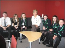 Sally Magnusson with School Reporters from Lenzie Academy in East Dunbartonshire