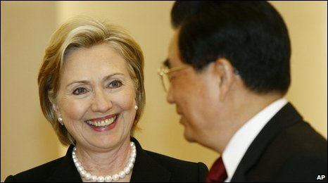 Hillary Clinton and Hu Jintao, 21/02