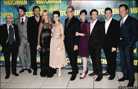 Watchmen cast (l-r) Jackie Earle Haley is Rorschach, Matthew Goode is Ozymandias, Jeffrey Dean Morgan is The Comedian, Malin Akerman is Silk Spectre II, Carla Gugino is Silk Spectre, illustrator Dave Gibbons, producer Deborah Snyder, director Zack Snyder, Billy Crudup is Dr Manhattan, Patrick Wilson is Nite Owl II