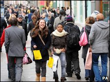 Shoppers on London's Oxford Street last month