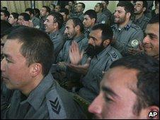Afghan police graduates, file pic