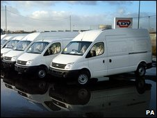LDV vans lined up at the firm's plant in Birmingham