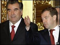 Эмомали Рахмон и Дмитрий Медведев в Кремле, 4 февраля 2009 года