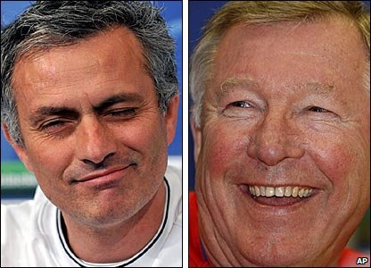 Inter Milan manager Jose Mourinho and Manchester United boss Sir Alex Ferguson