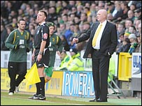 Bryan Gunn in his first game as manager of Norwich City against Barnsley (Photo: EDP)