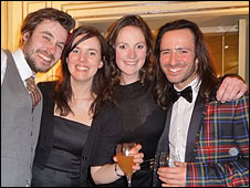 Breakthrough Award nominees Ed from Friendly Fires, Anna Meredith and Rose Heiney with Aaron (right) at the Dorchester