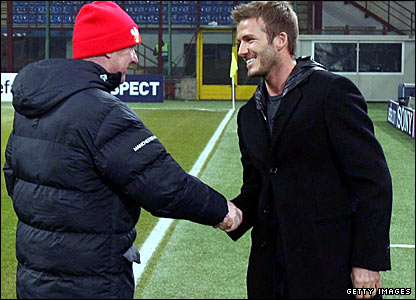 Manchester United manager Sir Alex Ferguson meets David Beckham
