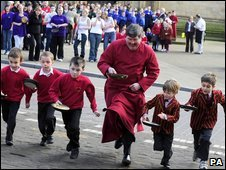 The Dean of Ripon, the Very Reverend keith Jukes, takes part in the race