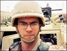 Aidan Delgado as a soldier in Iraq