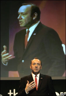 US actor Kevin Spacey speaks at the Mobile World Congress in Barcelona