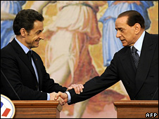 French President Nicolas Sarkozy and Italian PM Silvio Berlusconi in Rome (24 February 2009)