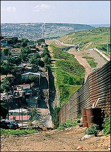 Fence stretches along border